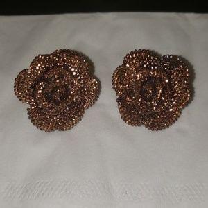 Brown/copper rose earrings